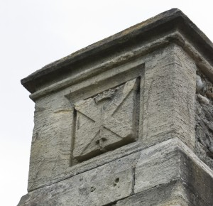 Stone on the remains of the chimney at St. Nicholas Church, Laindon with Dunton