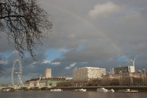 Rainbow over the Thames in London, England