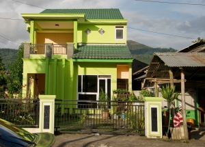 Green house in town in North Sulawesi