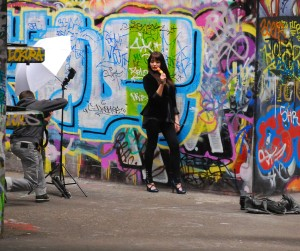 A model poses for a photographer in the skate park on the South Bank in London.