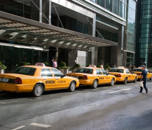 Yellow cabs lined up ready for action