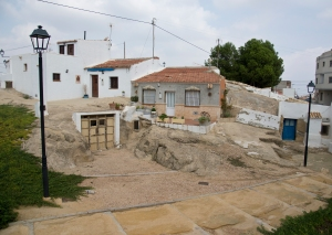 San Miguel de Salinas. Houses and garage built into the rock
