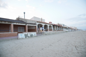Beach 'huts' on Guardamar Beach, Spain