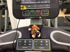 Reg on the treadmill, recovering after a near accident